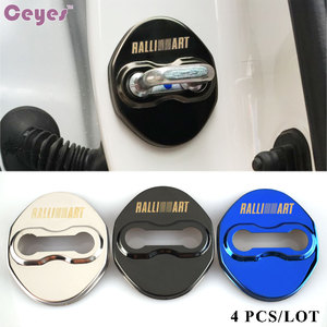Ceyes capa para porta de carro com emblemas, tampa para fechadura de carro, para mitsubishi raliart lancer 10 ralli art, acessórios automotivos estilizador