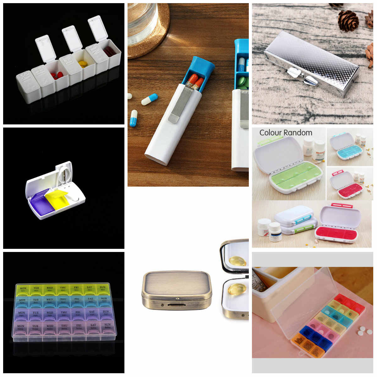 Adjustable Transparent Jewelry Storage Box Ring Earring Drug Pill Beads Portable Plastic Organizer Case Travel Bins