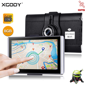 "XGODY 7"" Car Dash Camera DVR GPS Android 512M 16GB Touchscreen Navigation Car 1080P WiFi AvIn Free Map Dashcam Navigator"
