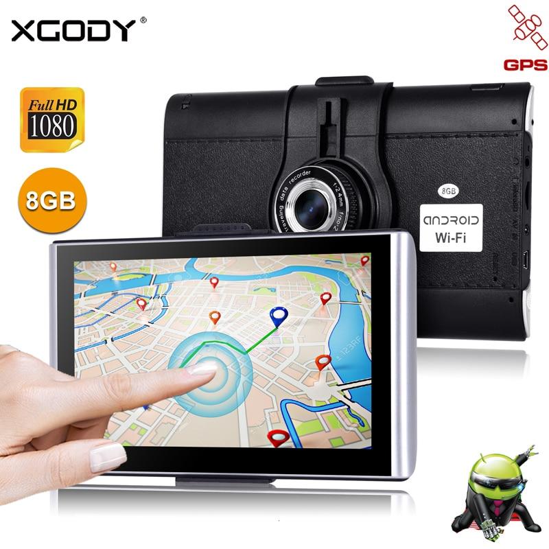 XGODY 7 Car Dash Camera DVR GPS Android 512M 8GB/16GB Touchscreen Navigation Car 1080P WiFi AvIn Free Map Dashcam Navigator