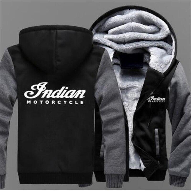 Indien Moto Marque Hommes Baseball Uniforme sweater à capuche cachemire Imprimé Sweats Hommes Épais Veste En Coton Chaud
