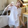 2016 лето xxxl стиль женщины белые блузки топы плюс дамы офис с коротким рукавом равномерное блузки тела рубашки одежды