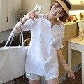 2016 xxxl verano estilo mujeres blanco blusas tops plus camiseta de manga corta camisa blusa cuerpo ropa de uniforme de oficina