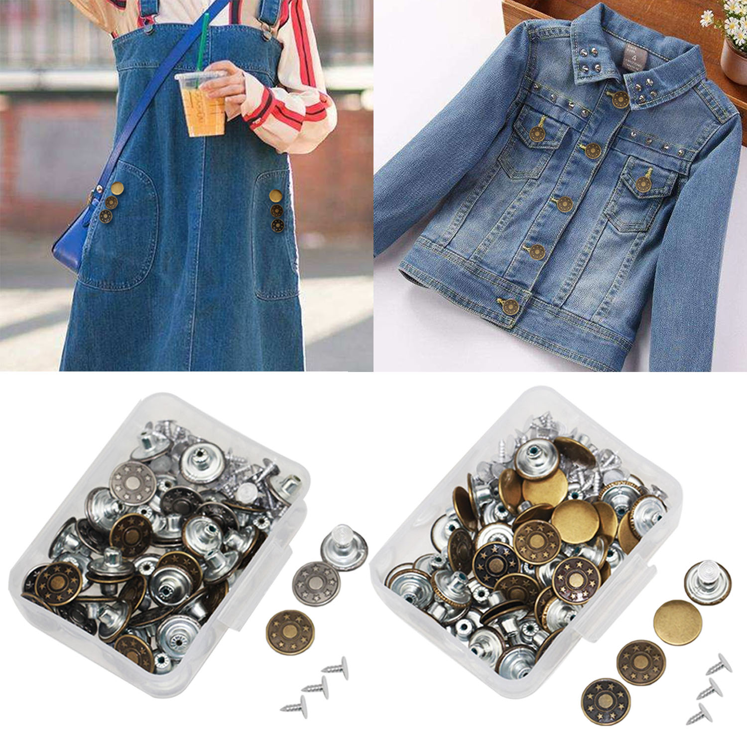 US $3 19 50% OFF|50 Set 17mm Replaceable Metal Tack Snap Buttons for Jeans  Shorts Jackets Backpacks Sweater Belts Bags Leather Tents Pants-in Buttons