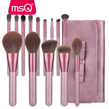 MSQ 14PCS Makeup Brushes Set Foundation Powder Blush Eyeshadow Contour Lip Make Up Brush Synthetic Hair With PU Leather Case jessup buy 3 get 1 gift makeup brushes set foundation blush liquid kabuki eyeshadow eyeliner lip contour make up brush smudge