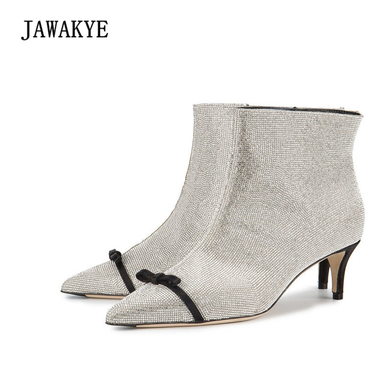 2018 Newest Design Rhinestone Ankle Boots Women Pointed Toe Bow Knot Glittering Real Leather Short Boots Zapatos Mujer