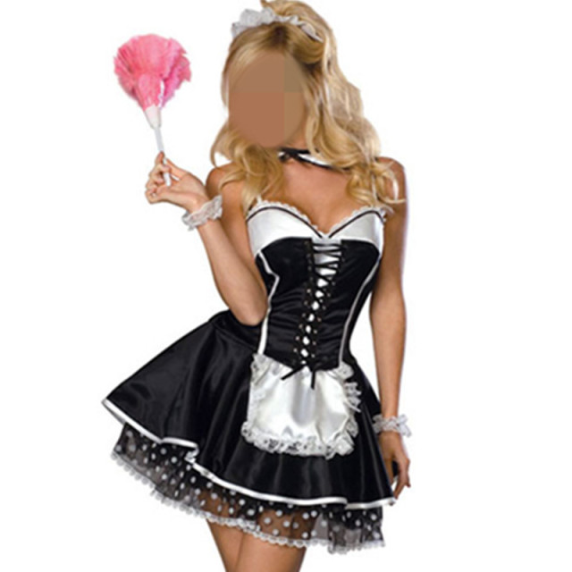 Lace Black sexy women dress Sexy Fancy French Maid Costumes
