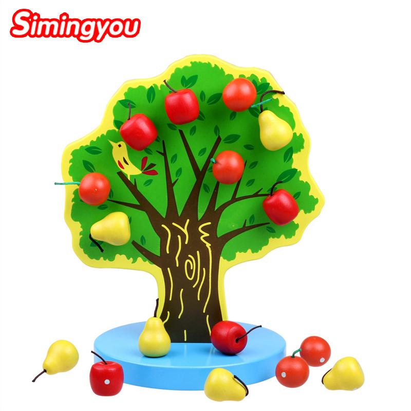 Simingyou Montessori Educational Wooden Toys Magnetic Apple Tree Baby Toy Early Childhood Preschool Training C20 DropShipping jaheertoy montessori early childhood educational wooden toys geometric assembling blocks baby shape cognition teaching aid