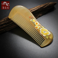 TOP END Authentic Natural sheep horn comb high quality hand painted art fine tooth pocket comb bag comb 656