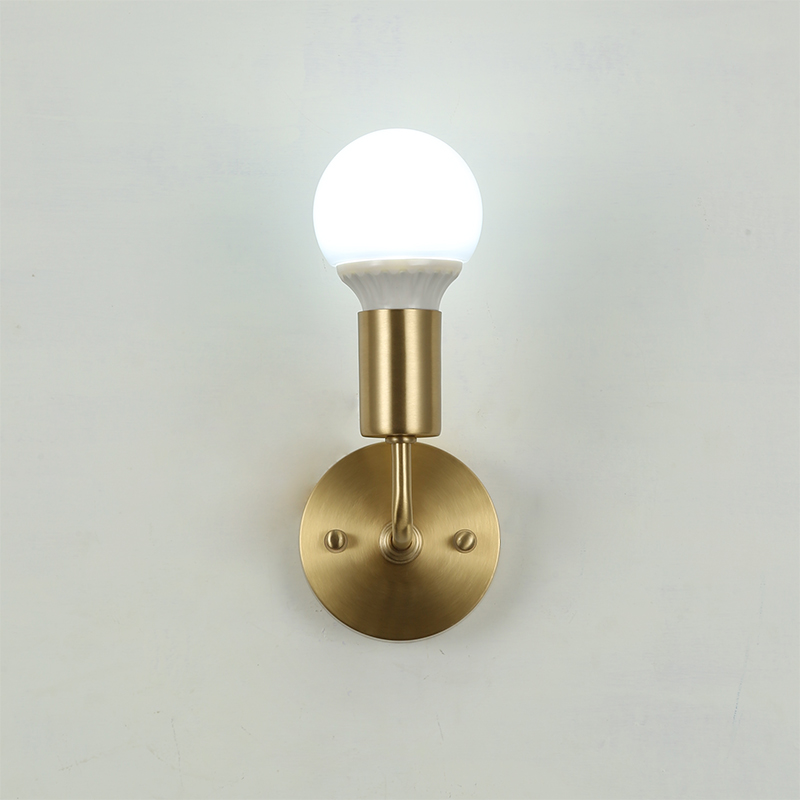 Quality brass neck Wall Sconce copper corner arm Wall Lamp Fixture minimalist bedroom corridor living room
