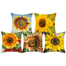 Fuwatacchi Sunflower Cushion Cover Pink Yellow Pillow for Home Sofa Chair Decorative Pillows Square Pillowcases