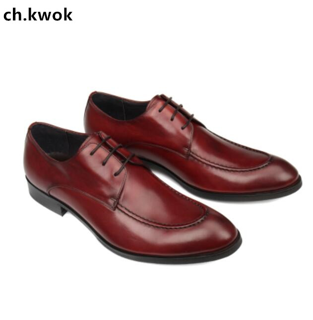 CH.KWOK High Quality Genuine Leather Breathable Mens Leather Shoes Italian Oxfords For Male Wedding Party Shoes Dress Oxfords 2018 mens genuine leather oxfords shoes pointed toe male dress wedding oxfords shoes slip on italian leather oxfords for men