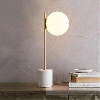 Пост современный Мрамор базы светодио дный G9 настольная лампа для фойе Спальня бар Стекло Золотой мяч гладить Illuminare осветительное оборудов