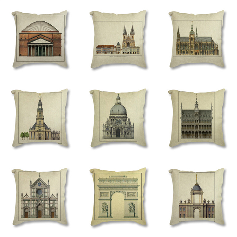 Vintage Retro Classic Architecture Europe Palace Church Printed Decorative Cushion Cover For Sofa Throw Pillow Case Home Decor Cushion Cover Aliexpress