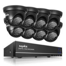 SANNCE 8CH 720P HDMI Hybrid DVR 1.0MP Indoor Outdoor CCTV Camera Home Security Video Surveillance System Kit With 8 Cameras