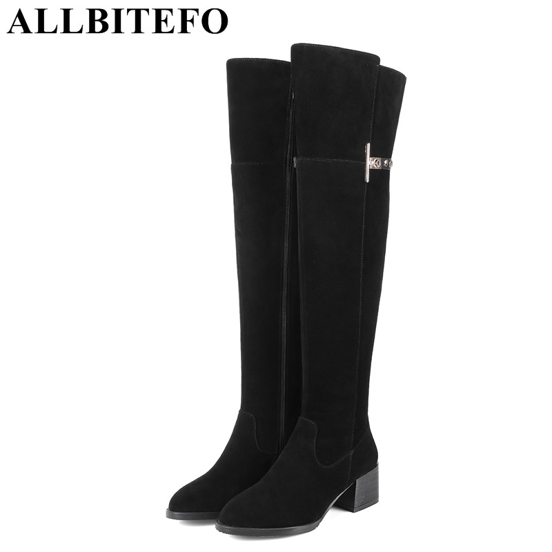ALLBITEFO over the knee boots full genuine leather brand buckle women boots thick heel winter boots girls boots size:33-43 simplicity buckle and pu leather design women s over the knee boots