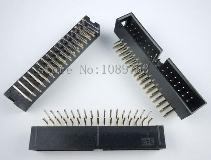 50pcs 2.54mm 2x17 34 Pin Right Angle Male Shrouded PCB Box header IDC Connector 5pcs pitch 2 54mm 2x40 pin 80 pin double row right angle male pin header strip connector