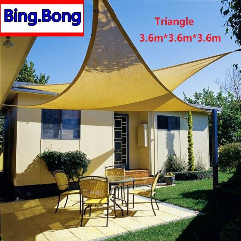 outdoor sun shade sail hdpe triangles sun shading net anti uv awning canopy 363636m gazebo for garden toldo garden balcony