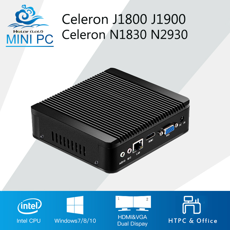 Hly Mini Computer Celeron N2830 J1800 Dual Core Mini PC Windows 10 Celeron N2930 J1900 Quad Core HTPC TV box WIFI newest mini pc computer celeron j1800 2 41ghz dual lan n2830 industrial thin client no fan design micro windows7 os 2 rs232