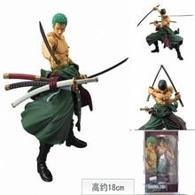 One Piece 18CM Roronoa Zoro New World Three Knife Flow Hobbies Anime PVC Action Figures Toys For Children Christmas