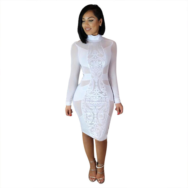 Aliexpress.com : Buy Hot sale Mesh patchwork dress Long Sleeve ...