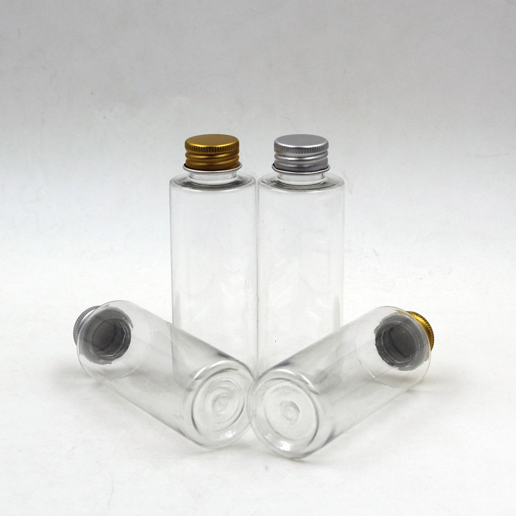 New 100ml Plastic Travel Empty Jars Perfume Bottle Liquid Container Aluminum Cap Silver/Gold
