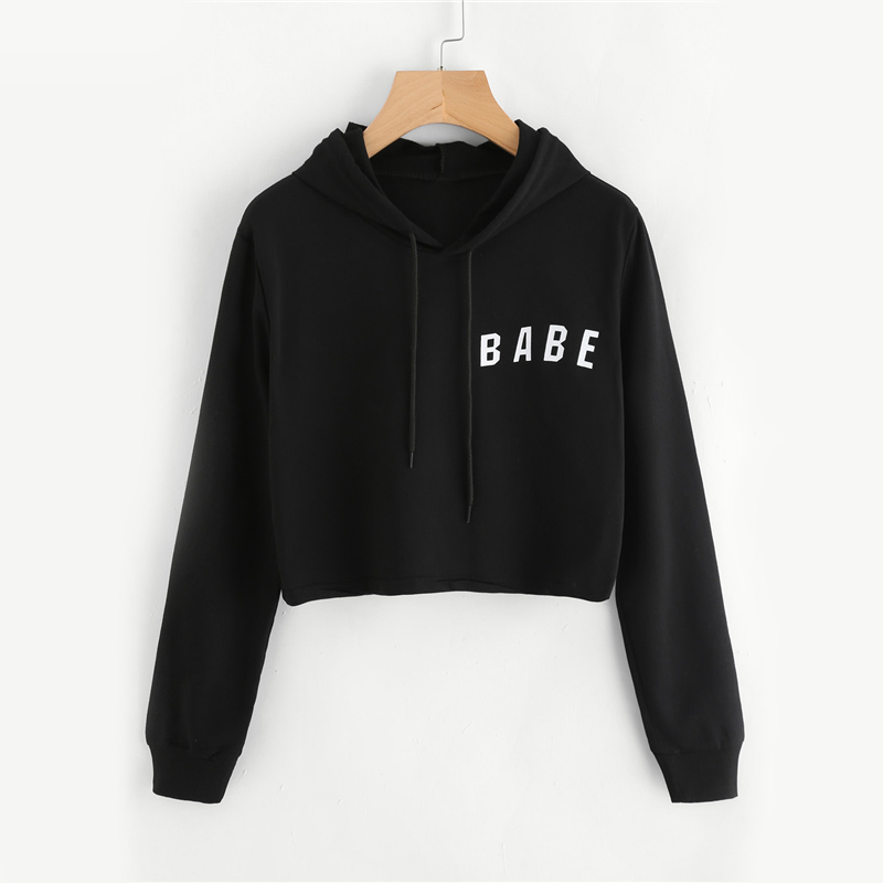 Babe Letter Printed Drawstring Black Cropped Hoodie For Women