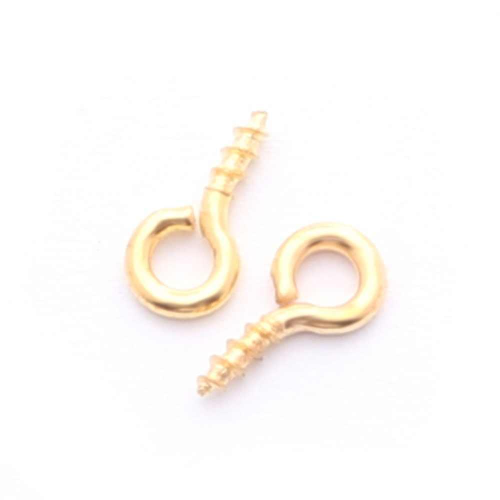 200 Pcs Kecil Mini Kecil Pin Mata Eyepins Kait Lubang Sekrup Berulir Perak Gesper Kait Temuan Perhiasan untuk Membuat Perhiasan DIY