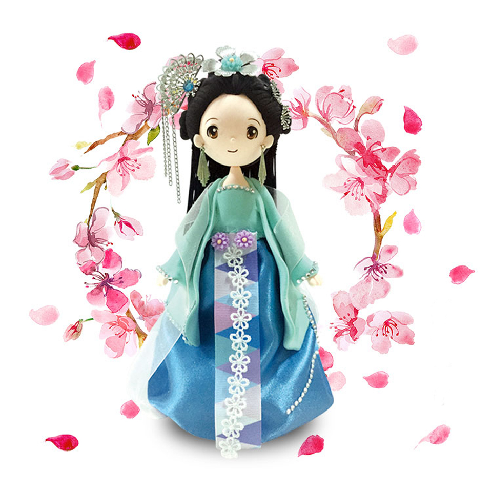 DOLLRYGA Slime Doll Set DIY Fluffy Clay Chinese Traditional Ethnic Doll with Dress and Headwear Handwork Birthday Toys For Girl