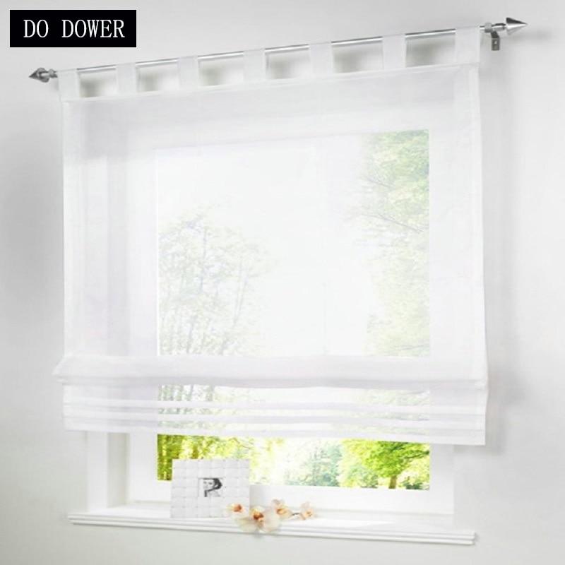 Modern Kitchen Short Tulle Curtain Translucidus Roman Curtain Sheer valance Screening Panel for Bedroom Balcony Kitchen Window