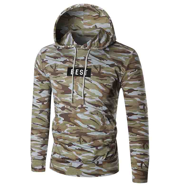 HOT 2018 Outdoor outfit splicing camouflage hooded men leisure letter sport jogging running men hoodies Exercise Sweaters