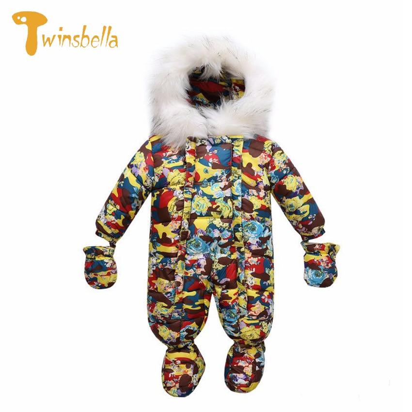 ФОТО TWINSBELLA Unisex Baby Rompers Print Duck Down Winter Snowsuit Babies Boys Hooded Jumpsuit Newborn Winter Fleece Overalls