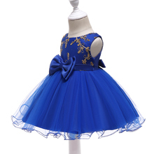 Free Shipping Cotton Lining Infant Dresses 2019 New Arrival Royal Blue