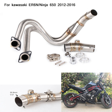 2012 2013 2014 2015 2016 Silp on For Kawasaki ER6N/Ninja 650 Motorcycle Full Connecting Pipe Stainless Steel Exhaust System