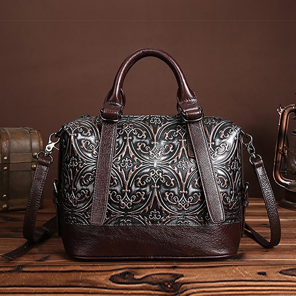Fashion Women Genuine Embossed Leather Handbag Vintage