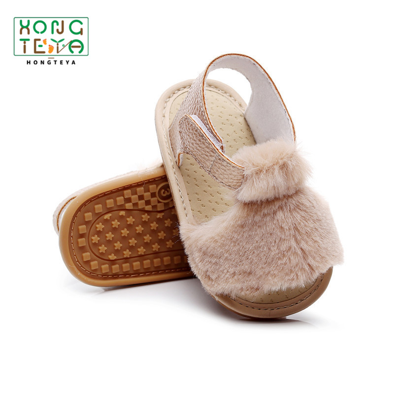 Soft Fur Hairy Sandals Shoes Summer Baby Girl Sandals Baby Infant Toddler Rubber Anti-slip Princess Baby Shoes For Girl Sandals