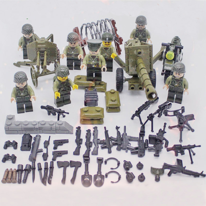 WW2 Military USA Army Soldiers Artillery Gun Weapons Building Blocks Motorcycles Accessories Blocks Toys Compatible LegoINGlys military city police swat team army soldiers with weapons ww2 building blocks toys for children gift
