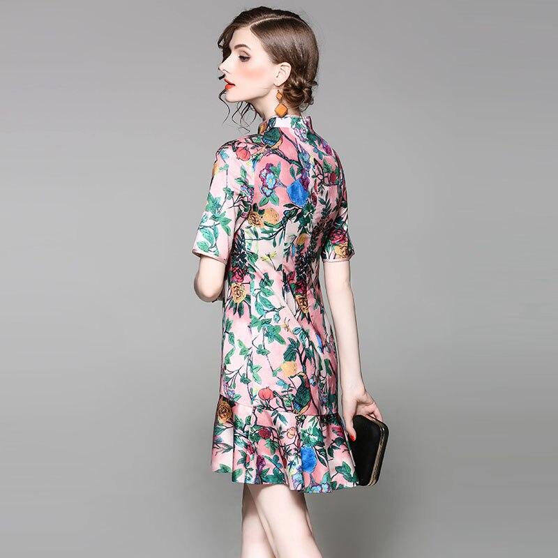 04331fe6963e Primavera estate designer runway donna vestito colorato motivo floreale  stampa rosa di stile cinese del vestito increspato fondo abito vintage in  Primavera ...