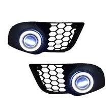 For Mitsubishi Lancer Sportback 3in1 LED Angel Eyes DRL Yellow Signal Light H11 Halogen / Xenon E13 Fog Lights Projector Lens