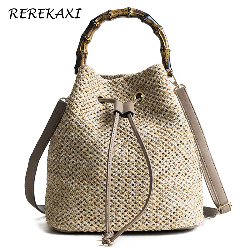 Women Bucket String Beach Bags Summer Knitting Straw Bag Female Shoulder Bag Bamboo Handle Handbag Messenger Crossbody Bags Tote