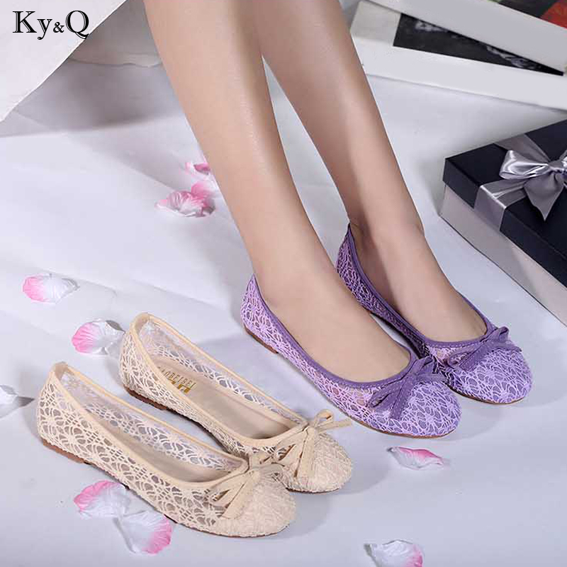 2019 Summer New Ladies Fashion Round Head Mesh Comfortable Breathable Sexy Bow Display Thin Casual Shallow Mouth Wild Flat Shoes