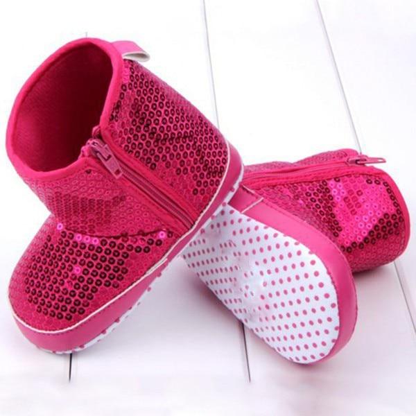 2016 Hot Sale Infant Kids Baby Girl Sequins High Boots Soft Bottom Anti-slip Walking Shoes