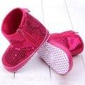 2016 Venta Caliente Infantil Kids Baby Girl Lentejuelas Botas Altas Inferiores Suaves antideslizantes Zapatos Para Caminar