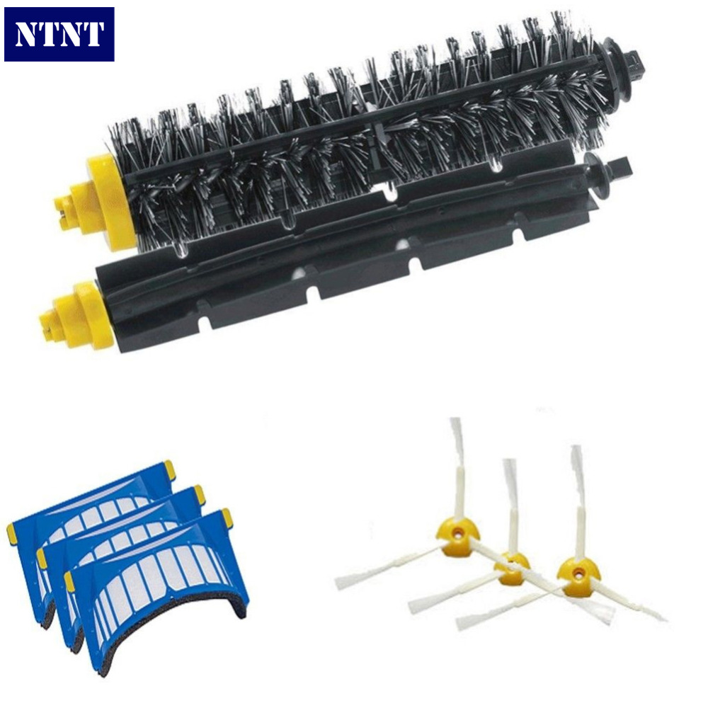 NTNT Aero Vac Filter + Brush 3 armed kit for iRobot Roomba 600 Series 620 630 650 660 Free Post 3pc brush replacement mini kit 6 armed for irobot roomba 500 series free shipping