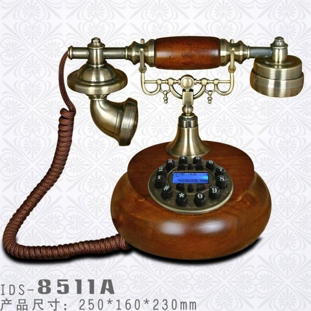 IDS 8511A High Quality Antique Wooden Telephone with Classic Design and Solid Wood Body Ideal Gift  Best Selling