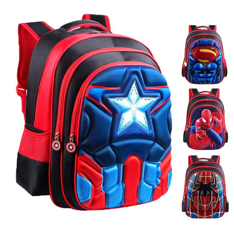 2019 New Captain America Primary Schoolbag 3D Spiderman School Bags For Student Boys Batman Student Backpack