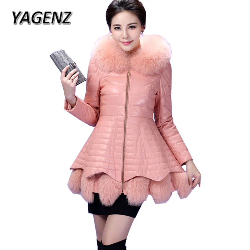 2018 Warm Winter Coat Female Thick Down Hooded Jackets High-grade Faux Fox Fur Collar Leather Jacket Slim Women's Clothing A822 winter jacket women hooded thick casual jackets luxury leather and fur warm jackets fsahion clothing from china