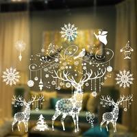 Christmas Large Size Glass Window Sticker Electrostatic No Glue Stickers Home Store Window Christmas Decorative Wall