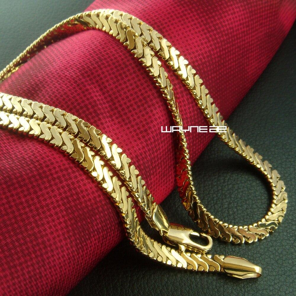 Мужчины золотой цвет Ожерелья Цепи 50 см Длина 4.5 мм ширина N272