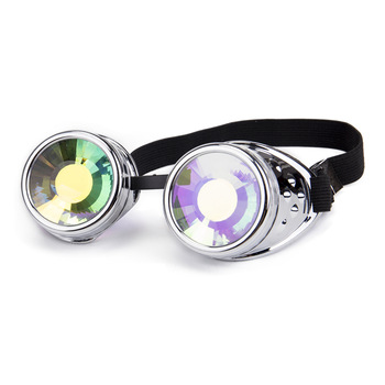 Steampunk Goggles Round Kaleidoscope Colorful Glasses Rave Festival Party EDM Sunglasses Diffracted Lens 1